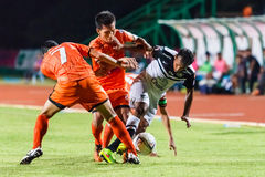 SISAKET THAILAND-MAY 28: Adul Lahso of Chonburi FC. (white) Royalty Free Stock Photo
