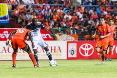 SISAKET THAILAND-MAY 28: Jaime Braganca of Chonburi FC. (white) Stock Photography