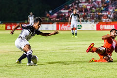 SISAKET THAILAND-MAY 28: Nurul Sriyankem of Chonburi FC. (white) Stock Image