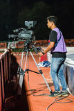 SISAKET THAILAND-OCTOBER 29: Cameraman during Thai Premier League Royalty Free Stock Photo