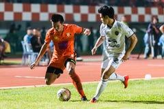 SISAKET THAILAND-OCTOBER 15: Komkrit Camsokchuerk av Sisaket FC Arkivfoton