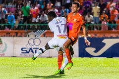 SISAKET THAILAND-OCTOBER 22: Santirat Viang-in of Sisaket FC. In action during Thai Premier League between Sisaket FC and Air Force Central FC at Sri Nakhon Stock Image