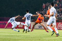 SISAKET THAILAND-OCTOBER 15: Sarayuth Chaikamdee of Sisaket FC. Royalty Free Stock Photo
