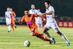 SISAKET THAILAND-OCTOBER 15: Tatree Seeha av Sisaket FC Fotografering för Bildbyråer