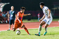 SISAKET 15 THAILAND-OKTOBER: Nuttawut Khamrin van Sisaket FC Stock Foto's