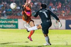 SISAKET 15 THAILAND-OKTOBER: Sarayuth Chaikamdee van Sisaket FC Royalty-vrije Stock Foto