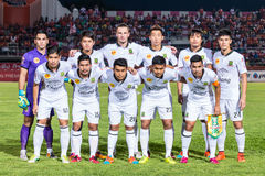 SISAKET 29 THAILAND-OKTOBER: Spelers van Leger Utd stel voor een teambeeld stock foto's