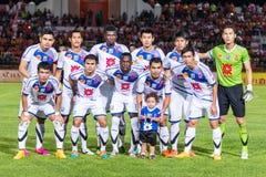 SISAKET 22 THAILAND-OKTOBER: Spelers van Luchtmacht Centrale FC royalty-vrije stock foto