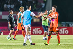 SISAKET 15 THAILAND-OKTOBER: Spelers van Sisaket FC en Buriram Utd Royalty-vrije Stock Fotografie