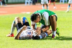 SISAKET THAILAND-SEPTEMBER 20: Pierwszej pomocy drużyna dudusia SC (zieleń) Fotografia Stock