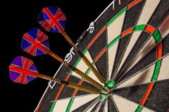 Sisal Dartboard on a black background Royalty Free Stock Photography