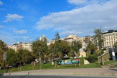 Sishane Park, Beyoglu Istanbul. Sishane Arena, Beyoglu Istanbul Turkey. Historical & Modern Buildings, Park, Trees & Road Stock Photography