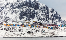 Sisimiut de 2de grootste Greenlandic stad Stock Afbeeldingen