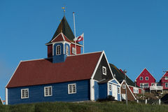 Sisimiut, een charmante visserijstad in Westelijk Groenland stock afbeelding