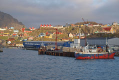 Sisimiut harbour, Greenland. A view of Sisimiut town from the harbour Stock Photography