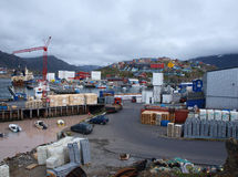 Sisimiut harbour, Greenland. A view of Sisimiut harbour from the docks Stock Image