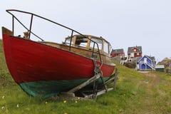 Sisimiut red ship Stock Image