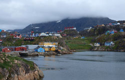 Sisimiut town, Greenland. A view of Sisimiut town from the south west bay Stock Photography