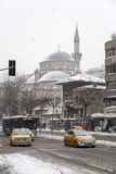 Sisli mosque under snow, Sisli district of Istanbul, Turkey Stock Photo