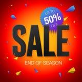 Sista försäljningsaffisch- eller reklambladdesign Slut av säsongförsäljningen på röd bakgrund Royaltyfri Bild