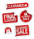 sista försäljningsetiketter för rensning stock illustrationer