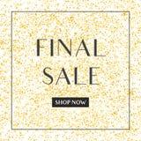 Sista försäljningsvektortecken på guld- bakgrund Royaltyfri Foto