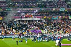 Sista fotbolllek av UEFA-EUROEN 2012 Fotografering för Bildbyråer