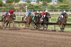 Sista hästkapplöpningar i Arizona till nedgång royaltyfria bilder
