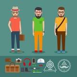 Sista kläder för hipsterlägenhetstil Arkivbilder