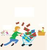 sista minute shopping vektor illustrationer