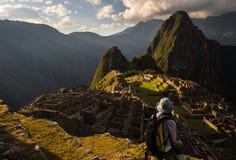 Sista solljus på Machu Picchu, Peru fotografering för bildbyråer