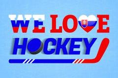 Sistani hokeja na lodzie tło Słowacka zima sporta wektoru ilustracja Kochamy hokejowego plakat Kierowy symbol w tradycji barwi royalty ilustracja