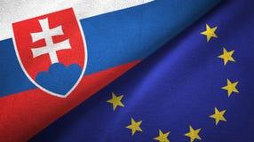Sistani i unii europejskiej dwa flagi tekstylny płótno, tkaniny tekstura ilustracja wektor