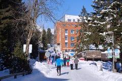SISTANI, STRBSKE PLESO - STYCZEŃ 06, 2015: Narciarki i inni aktywni turyści w Strbske Pleso Obraz Royalty Free