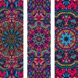 Sistema étnico de la bandera del vector floral ornamental colorido festivo ilustración del vector