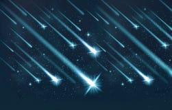 Sistema único artístico del extracto de ilustraciones brillantes de los cometas stock de ilustración