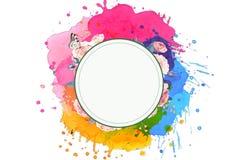 Sistema único multicolor del extracto artístico de colores con un círculo que brilla intensamente en un fondo blanco stock de ilustración