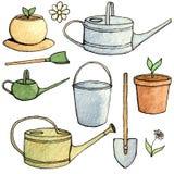 Sistema abstracto de la acuarela y de la tinta de utensilios de jardinería aislados en el fondo blanco Fotografía de archivo