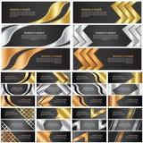 Sistema abstracto de la bandera del oro, de la plata y del bronce foto de archivo
