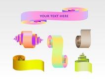 Sistema abstracto de la cinta del papel de la voluta stock de ilustración