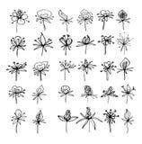 Sistema abstracto de las flores de los elementos para la decoraci?n stock de ilustración