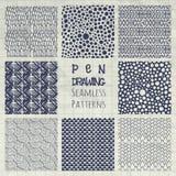 Sistema abstracto de Pen Drawing Seamless Background Patterns Fotografía de archivo