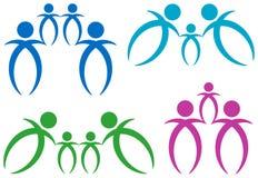 Sistema abstracto del logotipo de la familia stock de ilustración