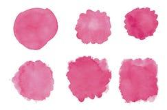 Sistema abstracto rosado de la acuarela Ilustración del Vector
