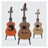 Sistema acústico de la guitarra eléctrica del ejemplo del vector con el soporte Imagenes de archivo