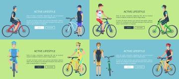 Sistema activo de la forma de vida de carteles que representan a ciclistas libre illustration