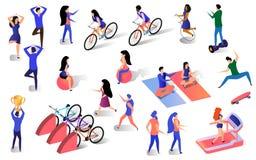 Sistema activo de la forma de vida de diversa gente isométrica stock de ilustración