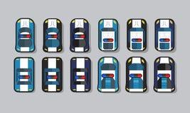 Sistema activo del juego de la opinión superior del coche policía del 2.o stock de ilustración