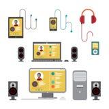Sistema acustico domestico Stereotipia della casa sul home computer piano Fotografia Stock Libera da Diritti