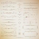 Sistema afiligranado de los elementos caligráficos para el diseño stock de ilustración